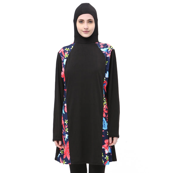Long Burkini with Head cover Black with Floral prints -  Selsabeel