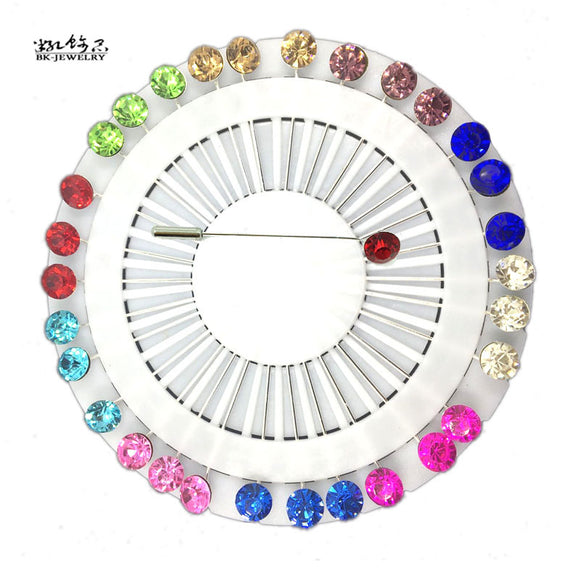 Hijab Pins with Colorful Rhinestone Crystals -  Selsabeel