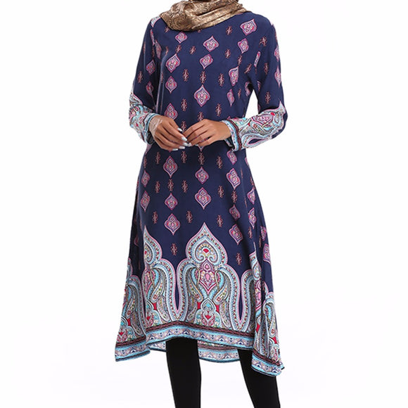 Colorful Vintage Style Shirt with Asymmetrical Pattern Prints -  Selsabeel