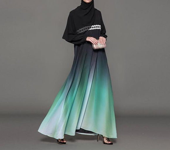 Elegant Black and Green Gradient Abaya -  Selsabeel