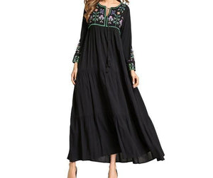 Long Dress with Small Floral Embroidery and Tassels -  Selsabeel