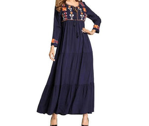 Long Dress with Floral Embroidery and Tassels -  Selsabeel