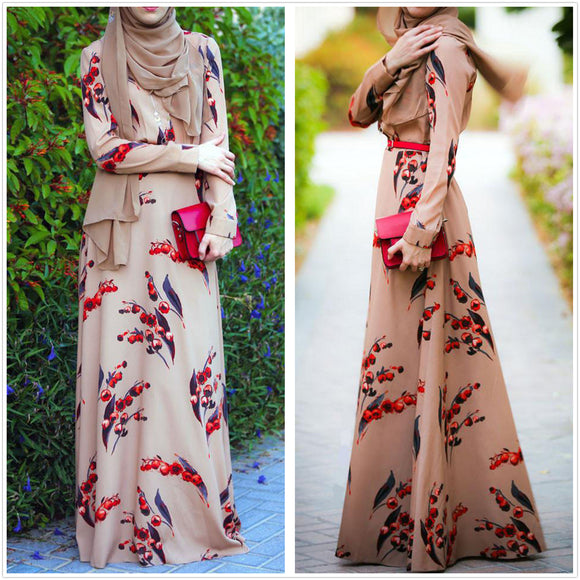 Elegant Cherry Floral Dress -  Selsabeel