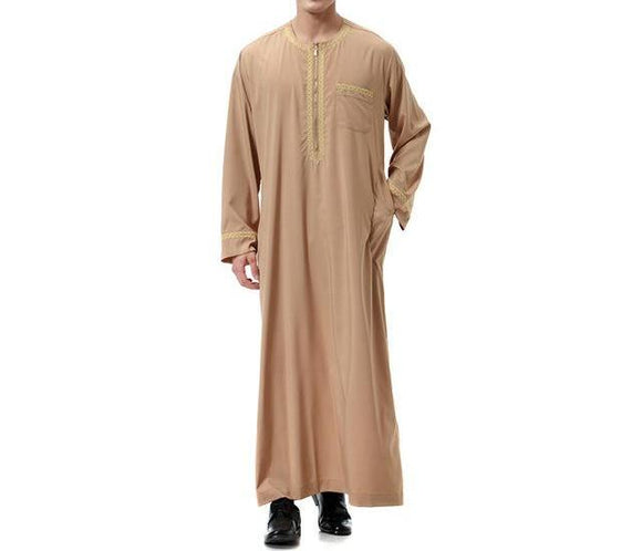 Stylish Jubba/Thobe with Embroidery and Zipper -  Selsabeel