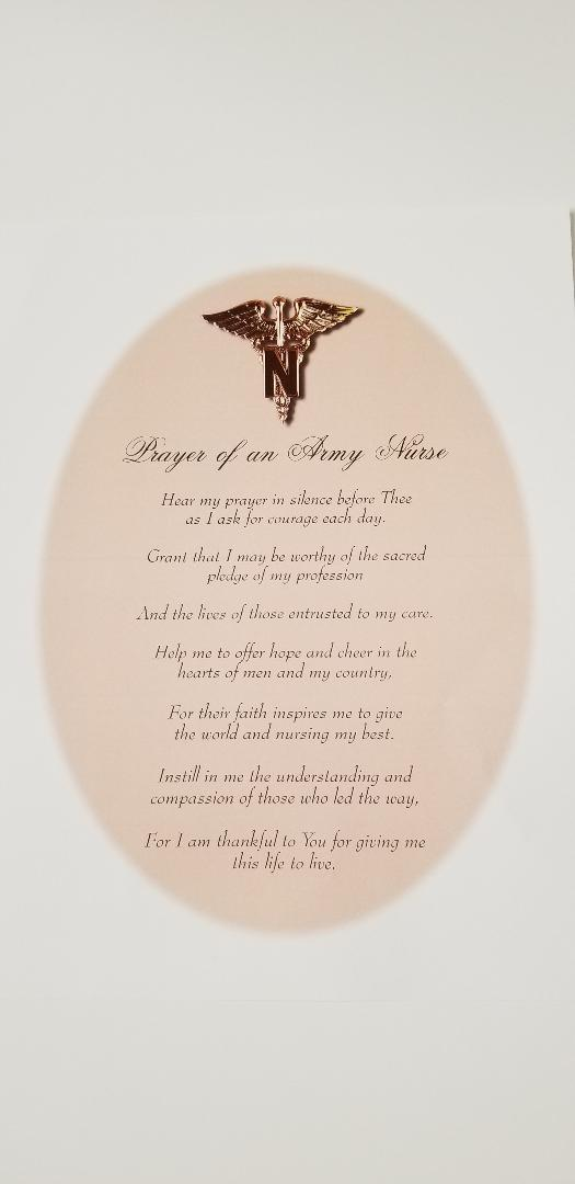 Prayer of an Army Nurse 8x10 : SKU : 1683