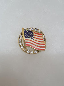 PIN LARGE CRYSTAL AMERICAN FLAG