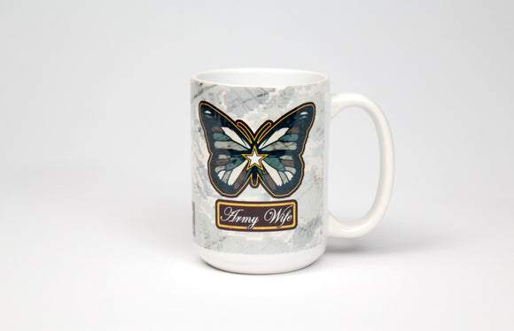 Army Wife Butterfly Mug