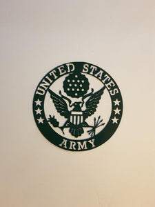 Metal Round Plaque Army Sm