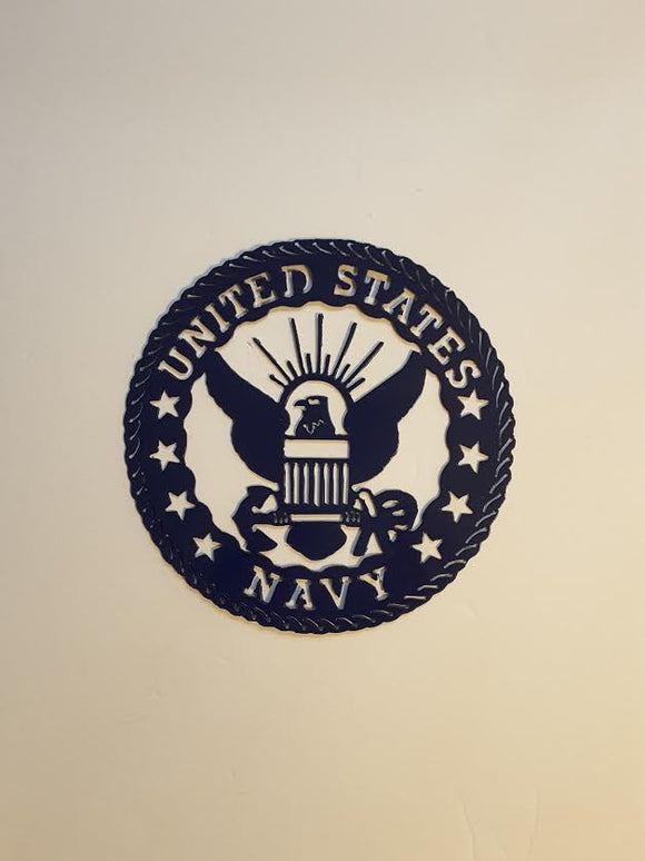 Metal Round Plaque Navy Sm