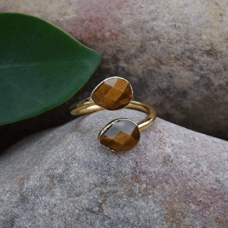 Cassandra Natural Stone Ring - Ibiza Fit Girl