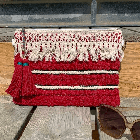 Maison Babou Clutch Ecru Burgundy - Ibiza Fit Girl