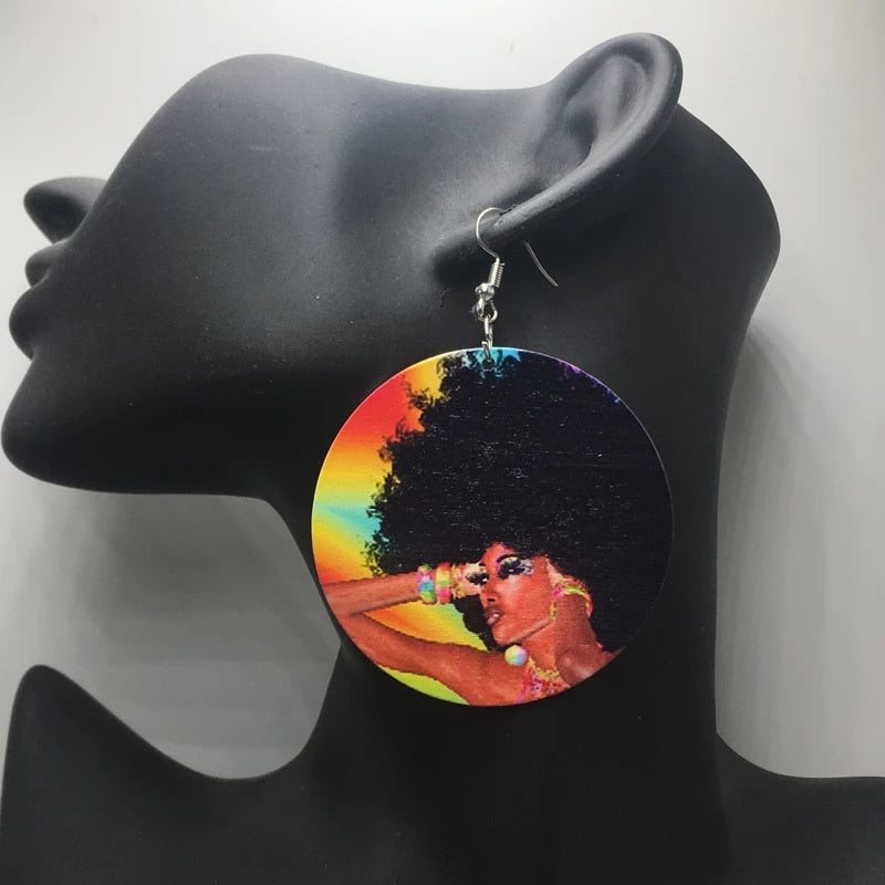 Rainbow Gold Round Wooden Earrings | CATICA Couture - CATICA Couture