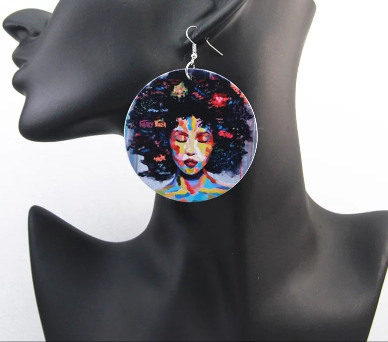 The Pride Round Wooden Graffiti Earrings | CATICA Couture - CATICA Couture