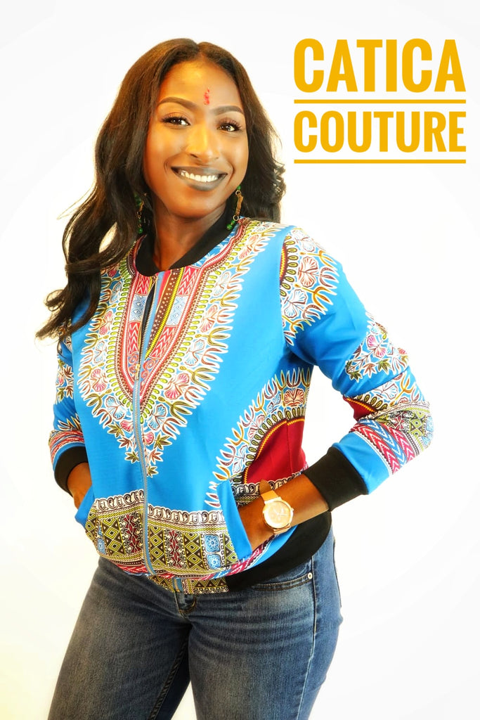 London Dashiki Bomber Jacket Light Blue | CATICA Couture - CATICA Couture