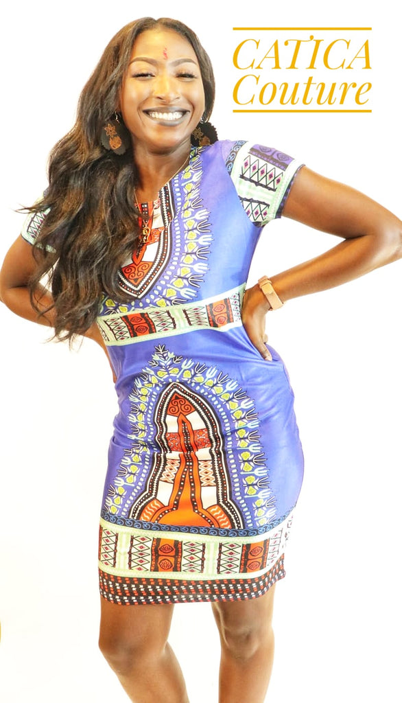 Sun City Blue Fitted Dashiki Dress | CATICA Couture - CATICA Couture
