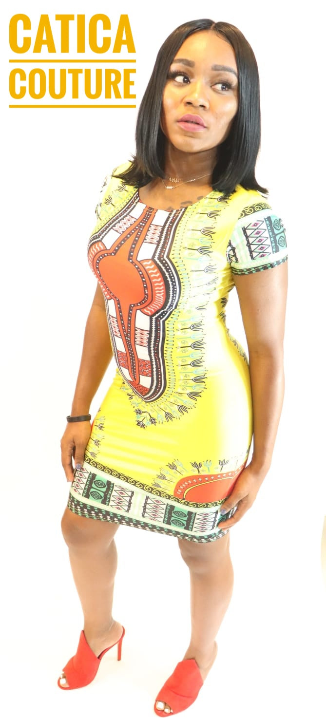 Sun City Yellow Fitted Dress | CATICA Couture - CATICA Couture