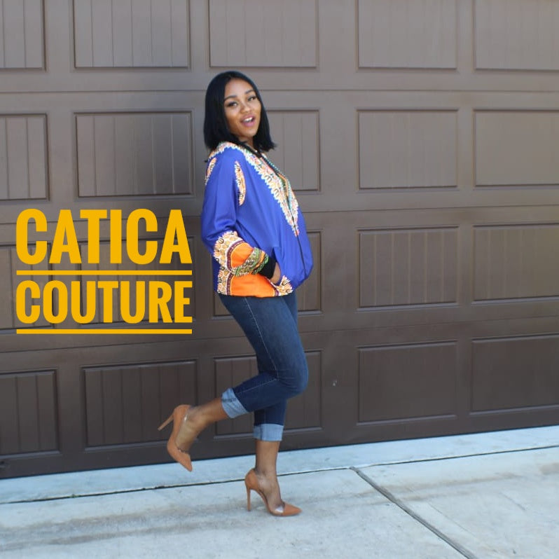 London Dashiki Bomber Jacket Royal Blue | CATICA Couture - CATICA Couture