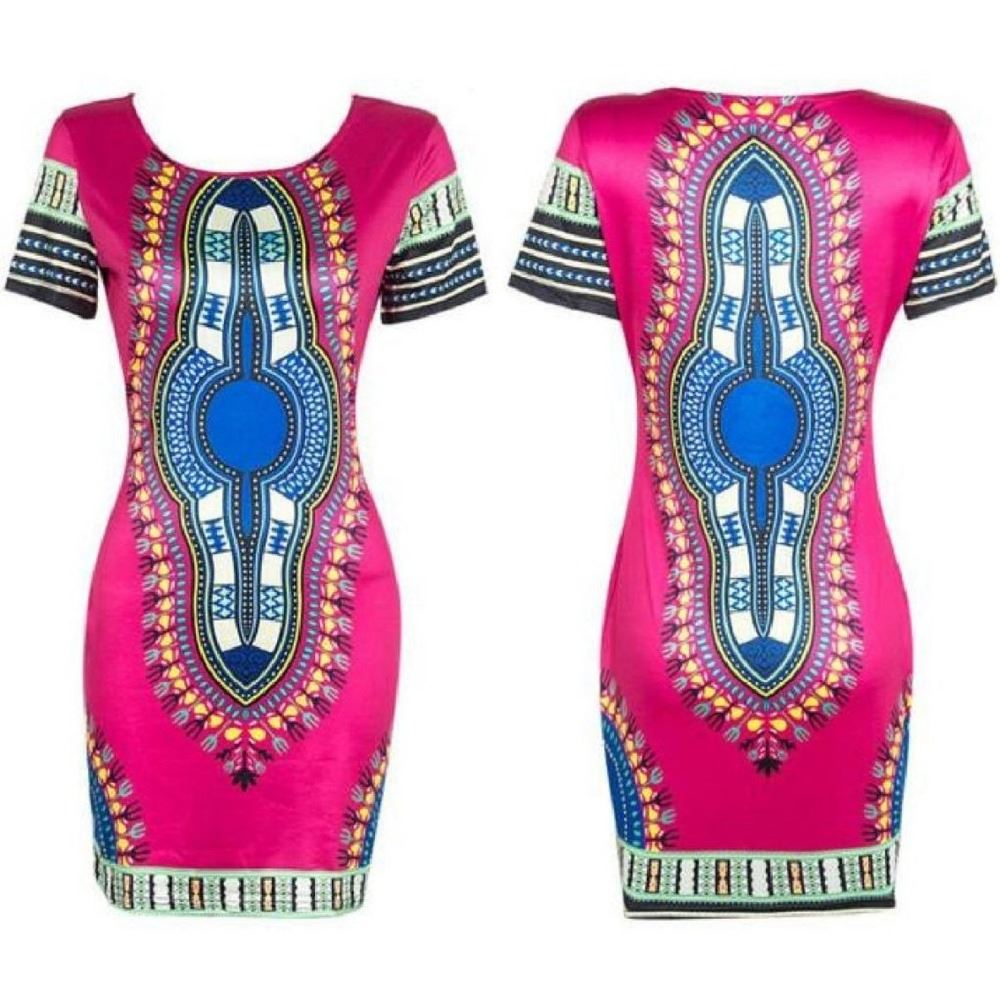 Sun City Pink Fitted Dashiki Dress  | CATICA Couture - CATICA Couture