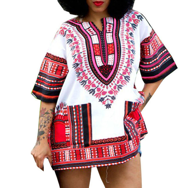 Traditional African Dashiki White & Red - CATICA Couture