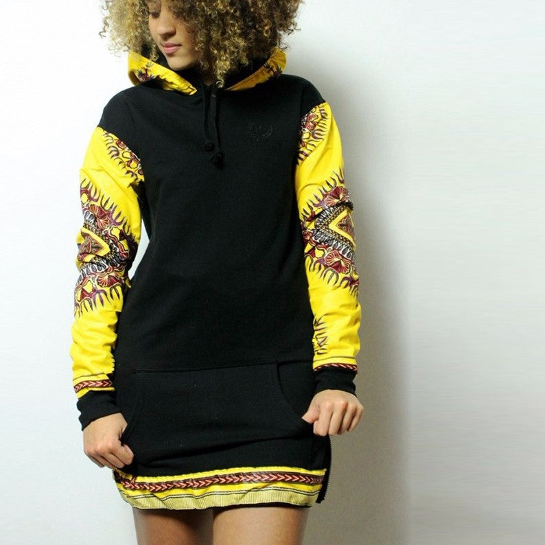 Ankara Sleeve Hoodie Dress - CATICA Couture