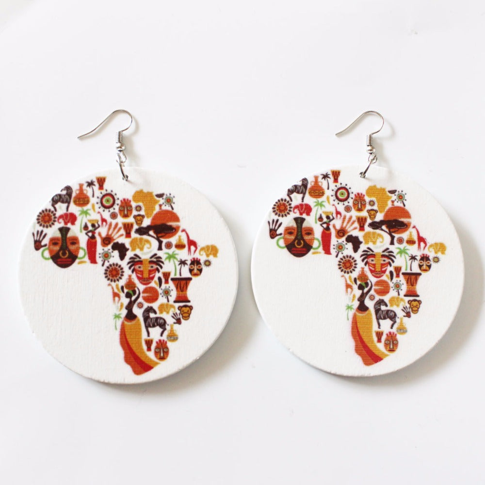 The Earthy Round Wooden African Map Earrings | CATICA Couture - CATICA Couture