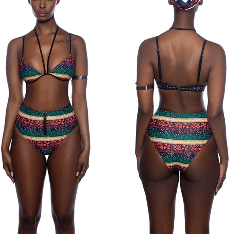 African Tribal Pattern Swimwear for Women Vintage Retro Bikini Set  | CATICA Couture - CATICA Couture
