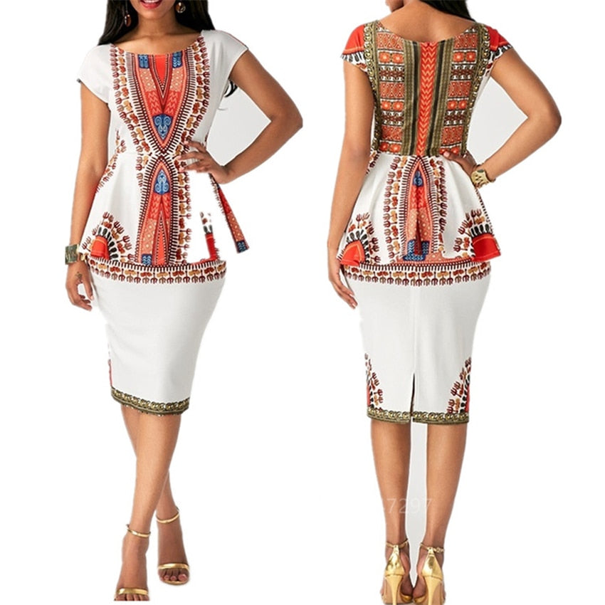 The Life Ankara Dashiki Print Top and Skirt for Women/Ladies | CATICA Couture - CATICA Couture