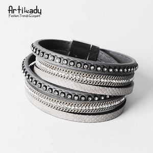 Open image in slideshow, Artilady  Wrap Leather Bangle Charm - Men & Women Fashion Bracelet  | CATICA Couture - CATICA Couture