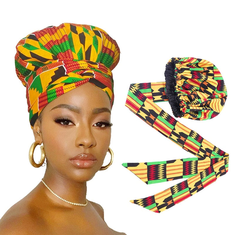 African Print Satin Bonnet and Bonnet Wrap w/Double Layer Headwrap | CATICA Couture - CATICA Couture