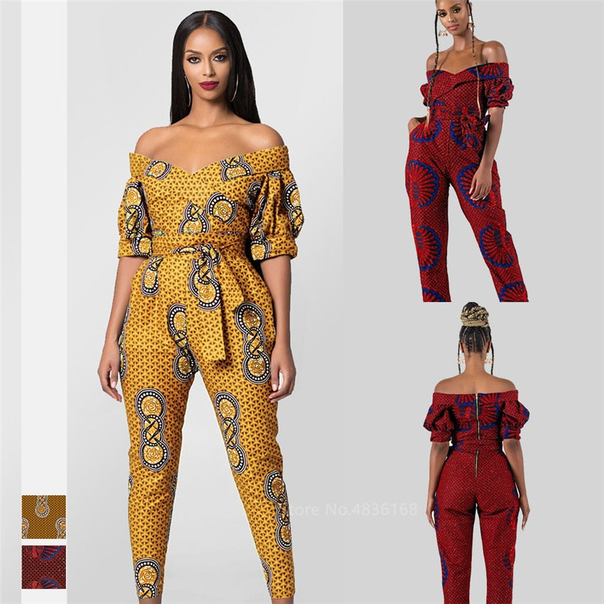 Ladies Dashiki Print Off Shoulder Ankara Style Trousers/Jumpsuit | CATICA Couture - CATICA Couture
