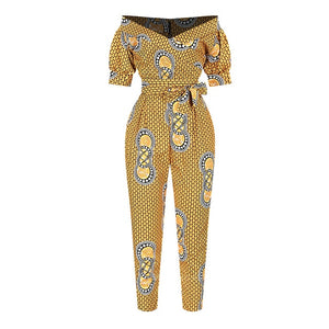 Open image in slideshow, Ladies Dashiki Print Off Shoulder Ankara Style Trousers/Jumpsuit | CATICA Couture - CATICA Couture