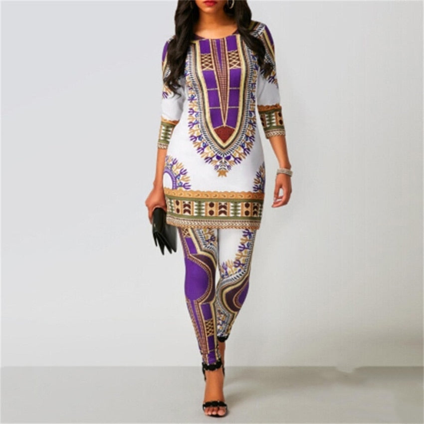 The Life Ankara Dashiki Print Top and Pants for Women/Ladies | CATICA Couture - CATICA Couture