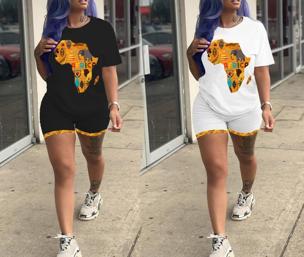 African Map T-shirt and shorts set | CATICA Couture - CATICA Couture