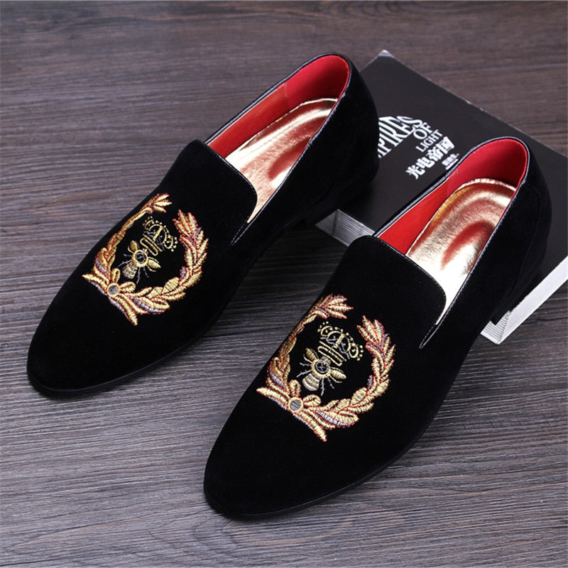 Fashion Suede Leather Embroidery Loafers | CATICA Couture - CATICA Couture