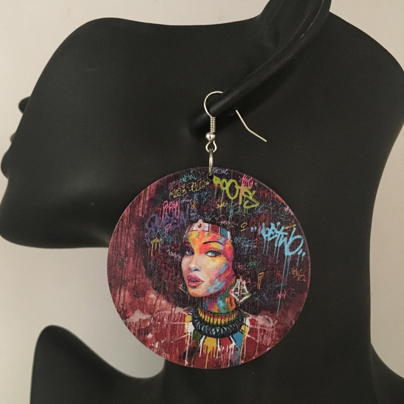 The Pride Round Wooden Graffiti Earrings 2 | CATICA Couture - CATICA Couture
