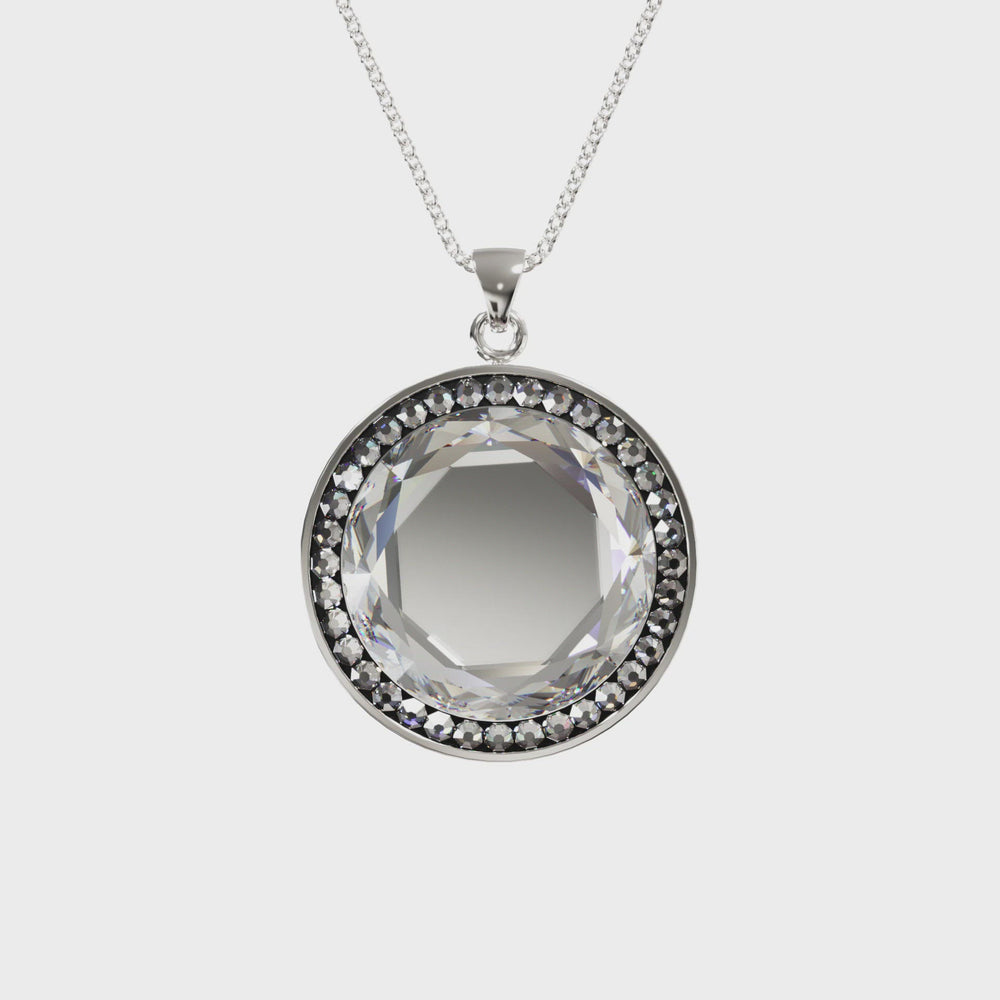 Load and play video in Gallery viewer, Larentia Round Sterling Silver Pendant Necklace