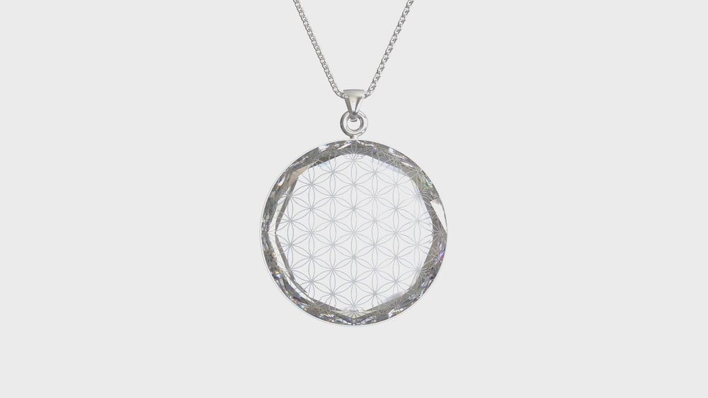 Load and play video in Gallery viewer, Larentia Flower of Life Round Pendant
