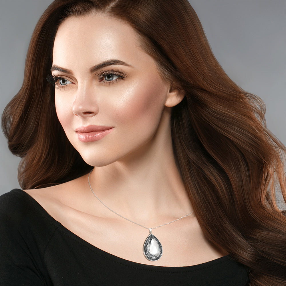 Load image into Gallery viewer, Larentia Drop Sterling Silver Pendant Necklace