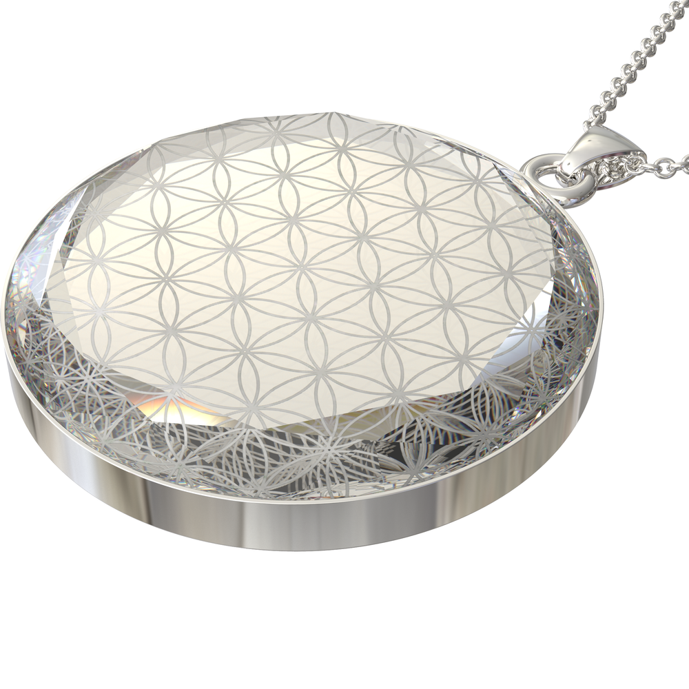 Load image into Gallery viewer, Larentia Flower of Life Round Pendant