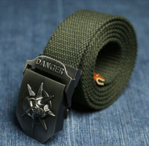 Canvas Skull Metal Belt