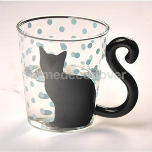 Cute Cat Kitty Glass Tea and Coffee Mug