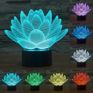 7 Color Changing Touch Lotus 3D Light