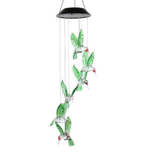 Outdoor LED Solar Hummingbirds Wind Chime Light