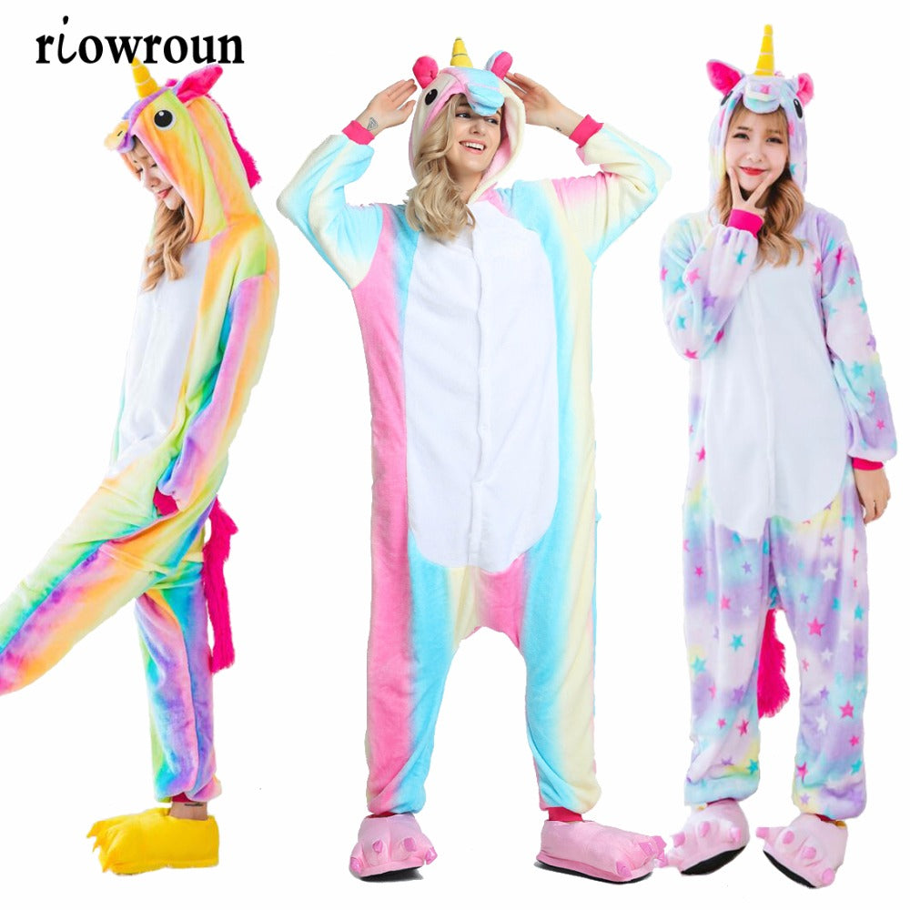 Rainbow Color Unicorn Kigurumi Stitch Unisex Costume