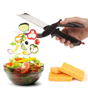 2 In 1 Multi-Function Kitchen Scissors Cutter and Knife