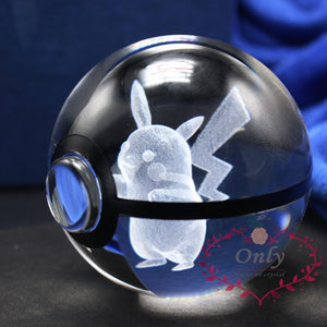 New Pokemon Cute Pikachu 3D Crystal Glass Ball