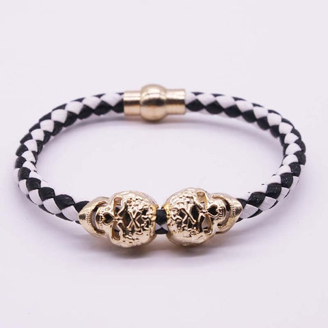Gold Skull Leather Bracelets