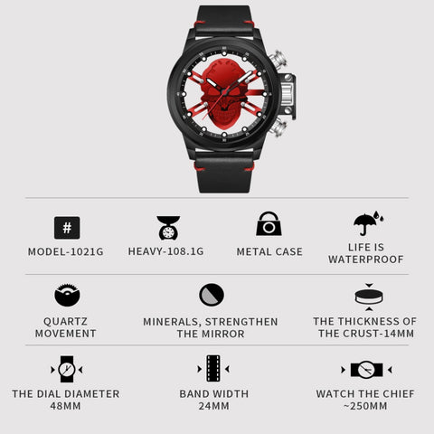 Punk 3D Hollow Skull Sport Watch