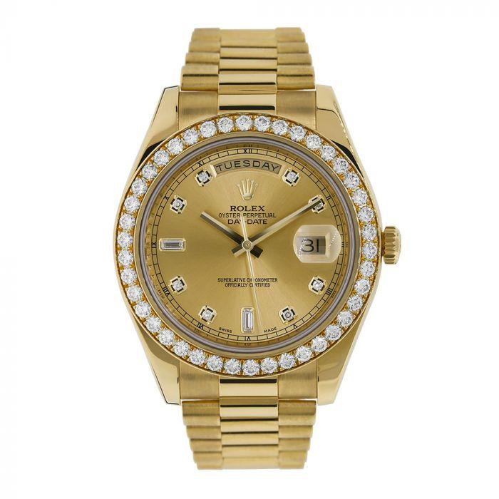 day date ii diamond bezel yellow gold president 41mm watch 218348 - Watches-2019