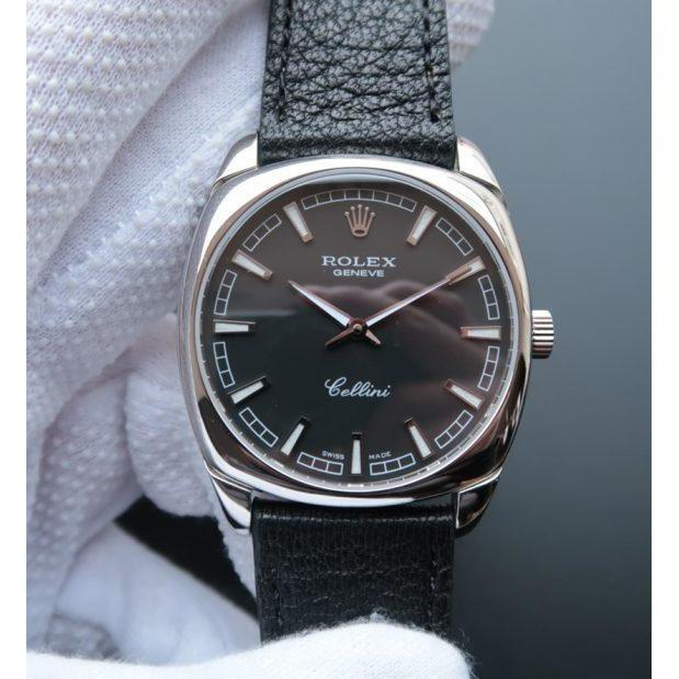 Rolex Cellini Danaos 4243 SS Black Dial Black Leather Strap A2824 - Watches-2019